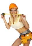 работник конструкции женский сексуальный Стоковая Фотография