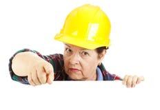 работник конструкции предупреждающий Стоковое Изображение