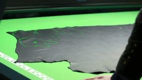 Работник контролирует размещение картин на коже сток-видео