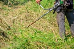 Работник кося траву стоковое фото