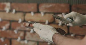 Работник крупного плана прикладывая конкретный клей к плитке кирпича Стоковые Изображения