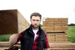 Работник лесного склада, плотник, выбирающ, seclecting планки нося тимберса Стоковые Фотографии RF