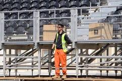 Работник моды на конструкции мест зрителя в Баку стоковая фотография rf