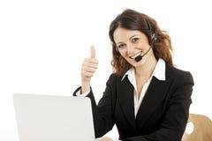 Работник обслуживания клиента женщины, оператор центра телефонного обслуживания усмехаясь стоковое изображение