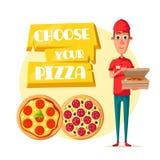 Работник доставляющий покупки на дом пиццы с открытым значком шаржа коробки Стоковая Фотография