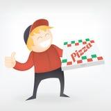 Работник доставляющий покупки на дом пиццы Стоковое Изображение RF