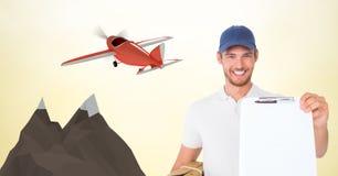 Работник доставляющий покупки на дом показывая доску сзажимом для бумаги против самолета 3d Стоковые Фото
