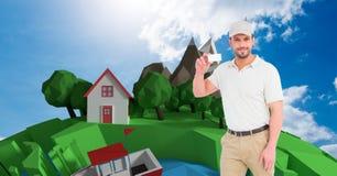 Работник доставляющий покупки на дом показывая пустую карточку против низкой поли земли Стоковые Изображения