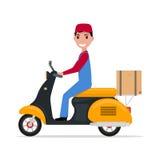 Работник доставляющий покупки на дом шаржа вектора плоский на самокате Стоковое Изображение
