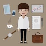 Работник офиса и вещи дела, установленные аксессуары Коммерсантка бесплатная иллюстрация