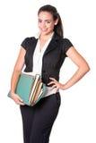 Работник офиса молодой женщины с файлами Стоковое Изображение RF
