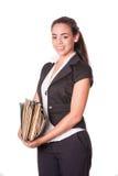 Работник офиса молодой женщины с файлами Стоковая Фотография RF