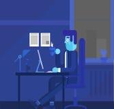 Работник офиса шаржа любит его работу выдающую от толпы Иллюстрация концепции вектора в плоском дизайне стиля Иллюстрация вектора