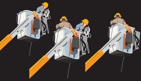 Работник поляков электричества высоковольтный в графике данным по подъемноого-транспортировочн механизма стоковое изображение