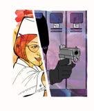 Работник-похититель Похищение в рабочем месте disguise Половина Dombai девушки и девушки под маской бандита с оружием Шуточный иллюстрация штока