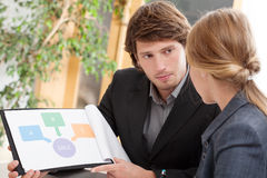 Работник представляя его идею к боссу Стоковое фото RF