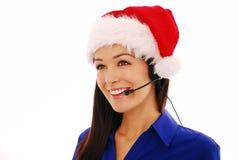 работник рождества центра телефонного обслуживания Стоковая Фотография