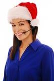 работник рождества центра телефонного обслуживания Стоковые Изображения