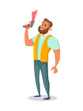 Работник склада держит блок развертки штрихкода в его руке Дизайн характера концепции также вектор иллюстрации притяжки corel
