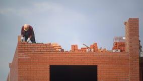 Работник строит стену кирпичей построитель на здании делая bricklaying построитель на строительной площадке делает кирпичную клад сток-видео