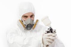 Работник с оружием airbrush Стоковая Фотография RF