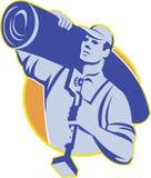 Работник слоя ковра носит инструмент брыкуньи колена Стоковая Фотография RF