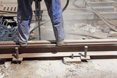Работник с пневматическим hamme Стоковые Изображения