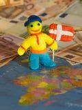 Работник с флагом - Данией Стоковое Изображение RF