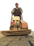 Работник с compactor плиты Стоковое фото RF