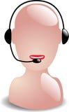 работник телефона обслуживания шлемофона Иллюстрация штока