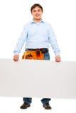 работник удерживания конструкции афиши пустой Стоковое Фото