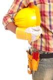 работник удерживания шлема Стоковая Фотография