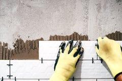 работник устанавливая керамические плитки Полейте зону предусматриванную в керамических плитках с сильным прилипателем Стоковое Фото