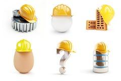 Работник шлема, шестерни, электронная база данных, вопросительный знак, шлем яичка Стоковое Изображение