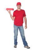 Работник доставляющий покупки на дом пиццы Стоковые Фотографии RF