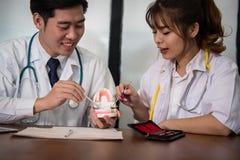 Работник co дантиста обсуждая терпеливую обработку с зубами челюсти O Стоковые Изображения RF