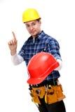 работник hardhat конструкции предупреждающий Стоковая Фотография RF