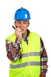 работник walkie talkie конструкции говоря Стоковые Изображения RF