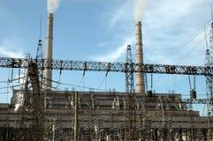 работы восходящего потока теплого воздуха электростанции Стоковая Фотография RF