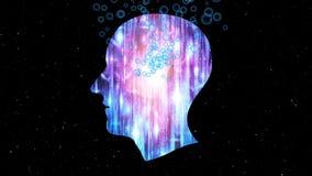 Работы мозга, искусственный интеллект AI и высокотехнологичная концепция Человеческое и схематическое виртуальное пространство, у бесплатная иллюстрация