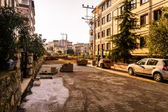 Рабочая зона строительства дорог Стоковая Фотография