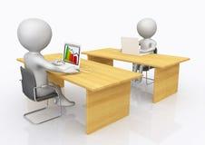 2 рабочего места офиса с диаграммами 3D Стоковая Фотография RF