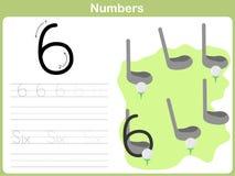 Рабочее лист номера следуя: Запись 0-9 иллюстрация штока