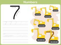 Рабочее лист номера следуя: Запись 0-9 иллюстрация вектора