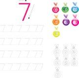 Рабочее лист 4 номера следуя, 0-9 Стоковые Фотографии RF