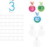 Рабочее лист 4 номера следуя, 0-9 Стоковые Изображения