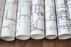 Рабочее место архитектора Архитектурноакустический проект, светокопии, blueprin стоковые изображения