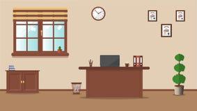 Рабочее место в офисе на предпосылке сливк иллюстрация штока