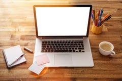Рабочее место офиса с деревянным столом Стоковое Фото