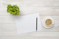 Рабочее место офиса с зелеными комнатным растением, чашкой кофе, белой бумагой и карандашем в взгляд сверху Стоковое фото RF